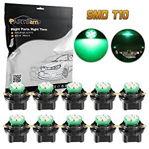 Partsam 10pcs T10 194 Green LED Bulbs Instrument Panel Gauge Cluster 8-Epistar-3020-SMD Dash Lights W/Sockets 5/8 Inch 16mm Hole Diameter