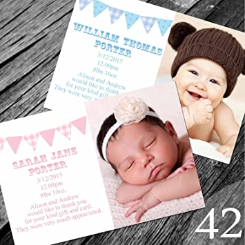 new baby thank you cards with own photo and text 30 amazon co uk