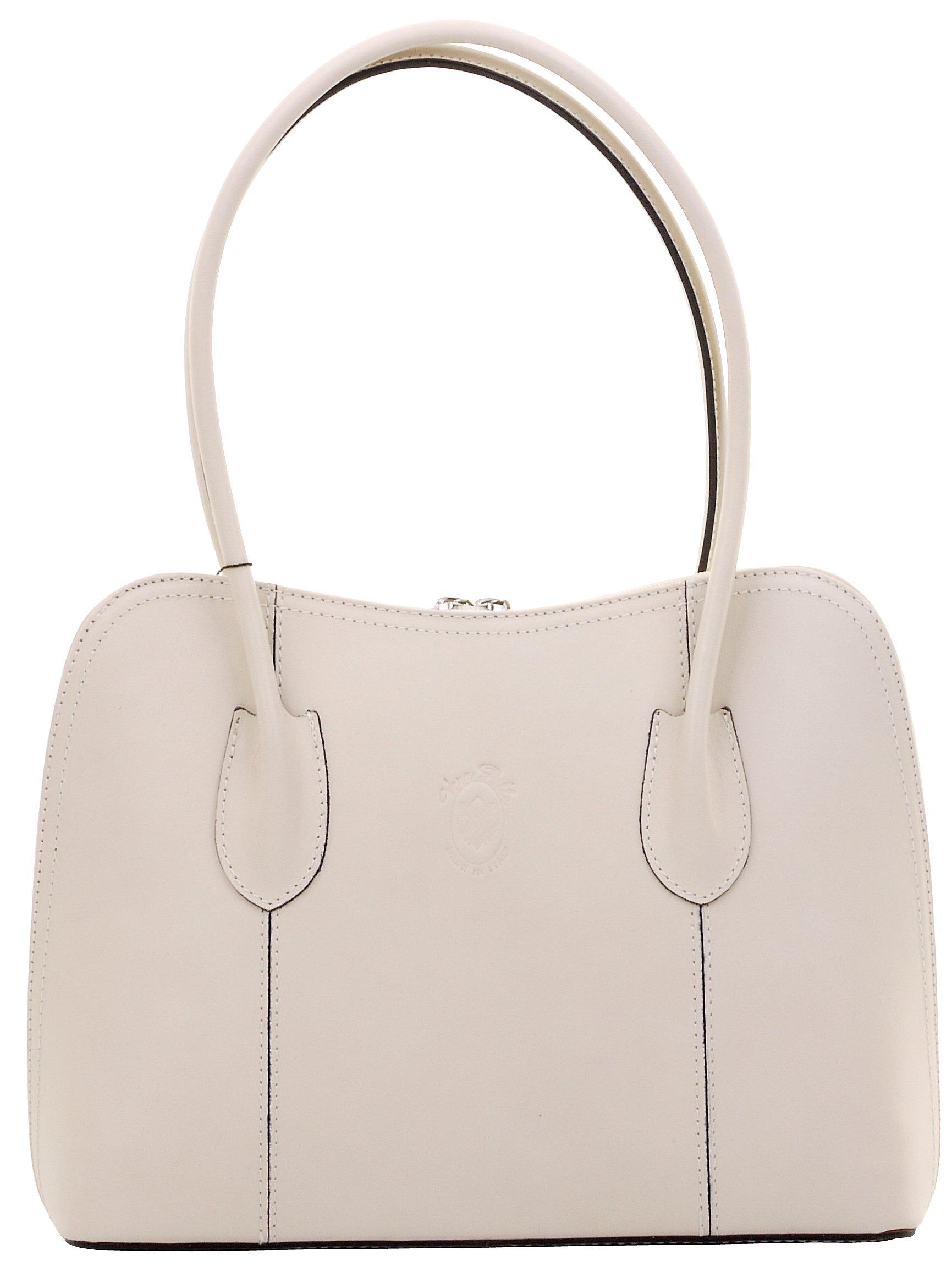 Primo Sacchi Italian Smooth Cream Leather Classic Long Handled Handbag Tote Grab Bag Shoulder Bag