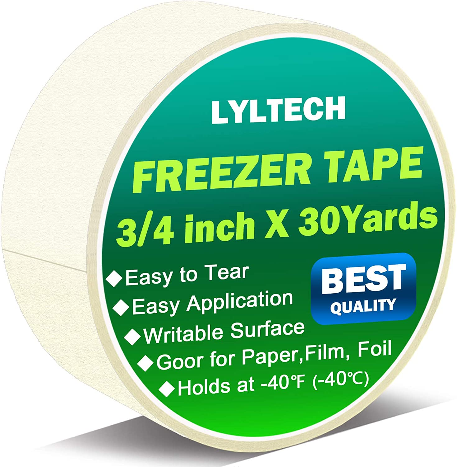 Freezer Tape, 3/4 Inch x 30 Yards, Writable Surface,Easy to Tear, Working Under Low Temperature, Single Roll