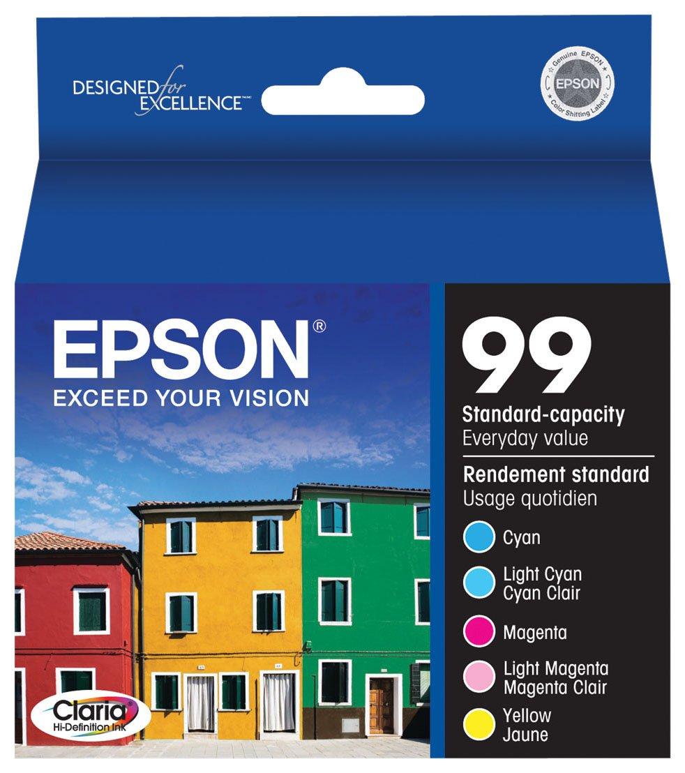 Epson Claria T099920 Hi-Definition 99 Standard-capacity Inkjet Cartridge Color Multipack -Cyan/Light Cyan/Magenta/Light Magenta/Yellow