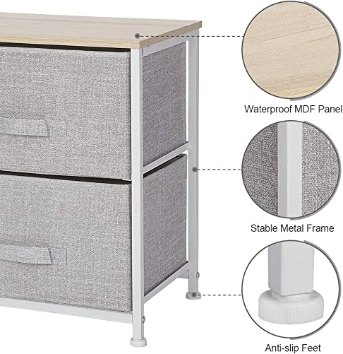 Greensen Nightstand with 2 Drawers Bedside Fabric Drawer Dresser Storage Organizer Unit for Bedroom Living Room Hallway Dorm Office, Foldable Fabric Drawers, MDF Top, Metal Frame, Light Grey
