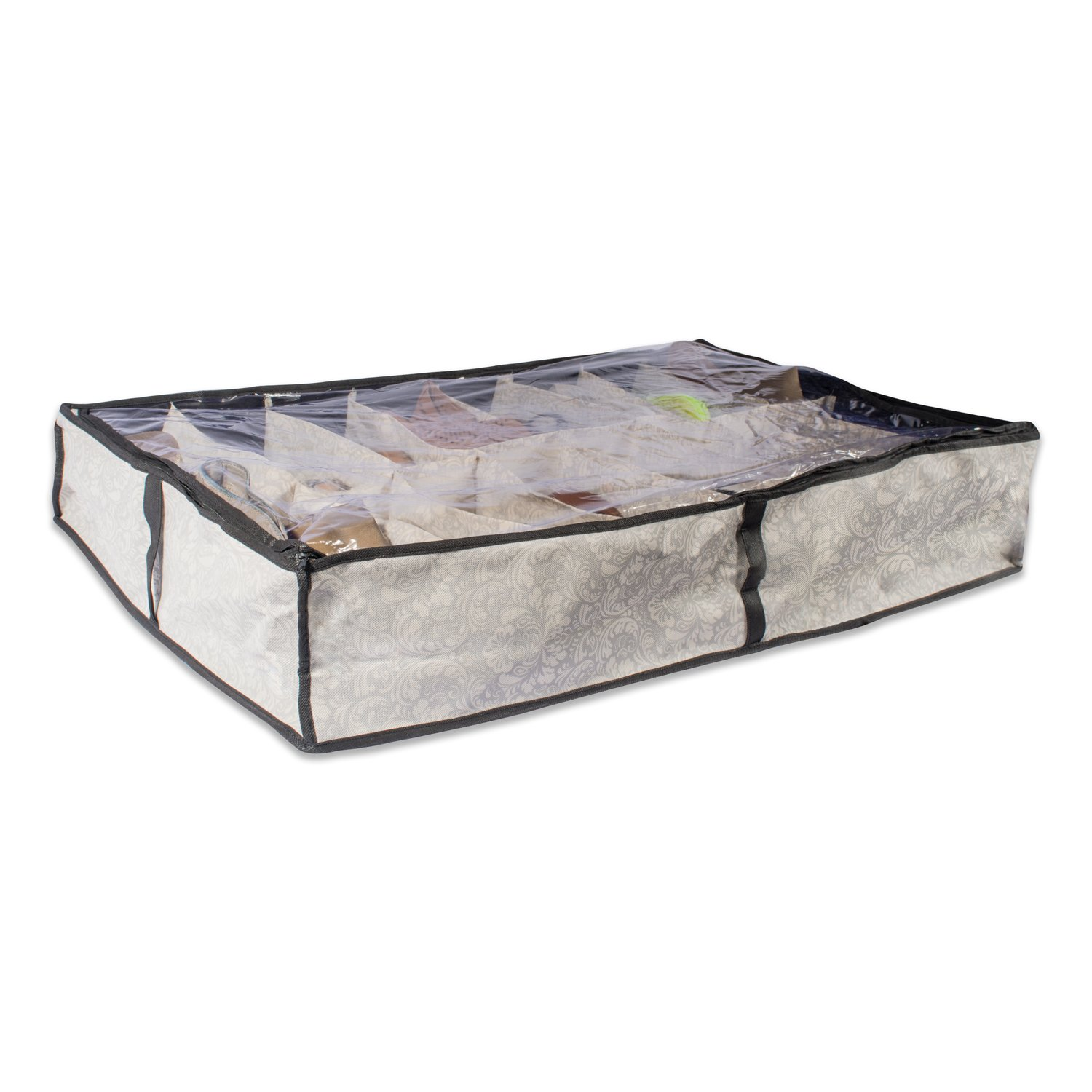 DII Breathable, Under the Bed Closet Soft Storage Bag Clear Viewing Window & Zipper Closure Shoes (Fits 16 Pairs - 37 x 23 x 6) Grey Damask