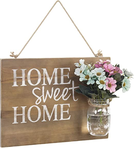 New Primitive Farmhouse Chic Shabby Family MASON JAR KITCHEN SIGN Key Hooks