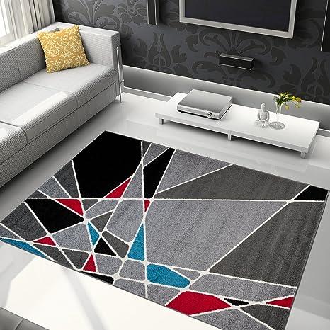 Alfombra De Salón Moderna – Color Gris Negro De Diseño Geométrico Triángulos – Suave – Fácil De Limpiar – Mejor Calidad – Diferentes Dimensiones ...