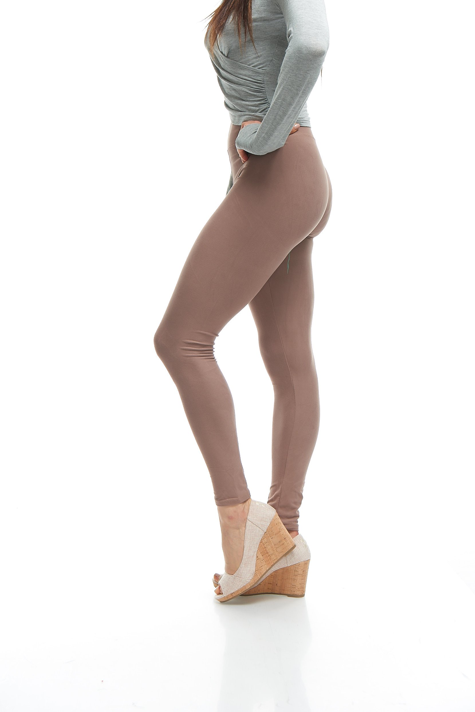 LMB Plus Size Premium Quality Extra Soft Leggings for Tall and Curvy with Yoga Waist - Mocha by LMB