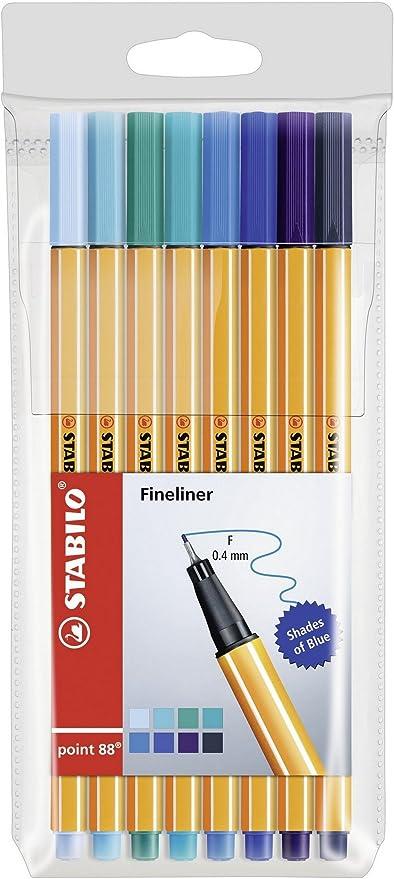 Rotulador punta fina STABILO point 88 - Estuche Sombras de azul con 8 colores: Amazon.es: Oficina y papelería