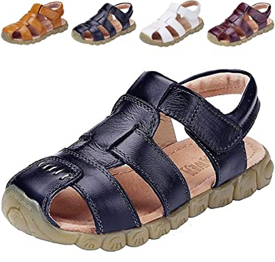 c0c58ddef895 DADAWEN Boy s Girl s Leather Closed Toe Outdoor Sport Sandals (Toddler Little  Kid Big
