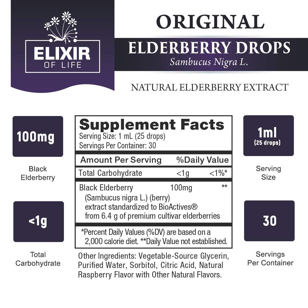 Elderberry Drops - Potent Immunity booster, Allergy relief, Cold & Seasonal Relief - Sambucus Nigra - USA Made by Elixir Of Life (Image #2)