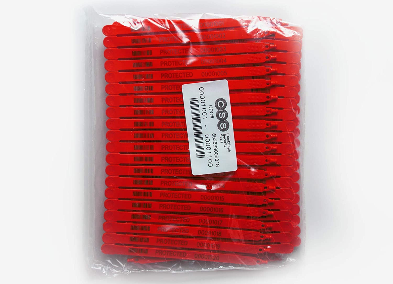 Cambridge Security Seals Plastic Truck Seal Fixed Length 7.5 Inch Red 100 Pieces Made in USA
