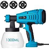 Tilswall Paint Sprayer, 550w Spray Gun Home Electric Paint Gun with 1300ml Detachable Tank max 1200ml/min, 3 Spray Patterns,