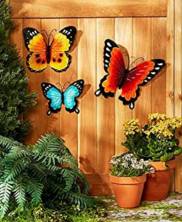 Amazoncom Nature Inspired Metal Butterfly Decorative Wall Art