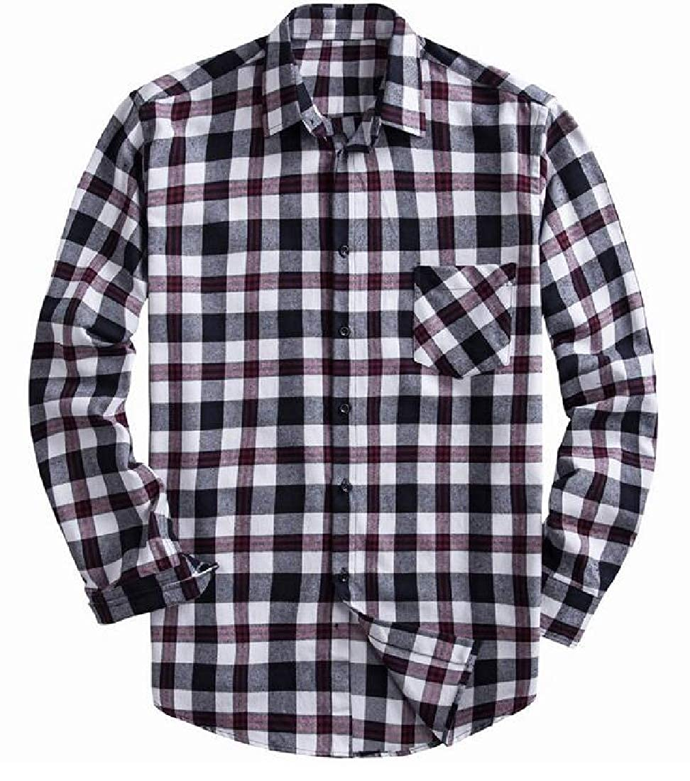 YYG Mens Lapel Neck Long Sleeve Loose Fit Casual Plaid Print Button Up Dress Work Shirt