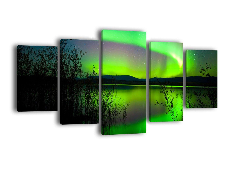 Amazon.de: Leinwandbild Grünes Polarlicht LW330 Wandbild, Bild auf ...