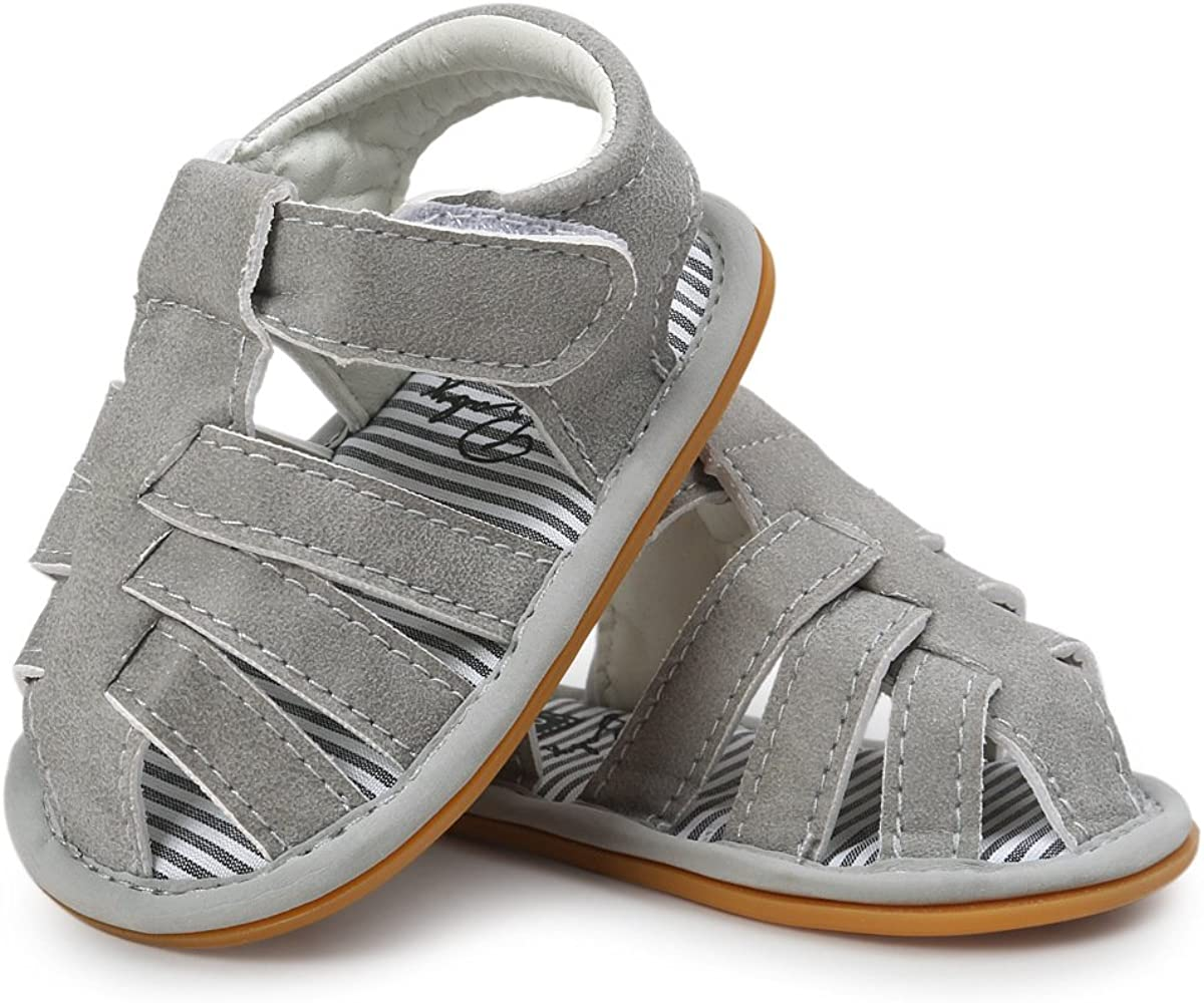 E-FAK Baby Boys Girls Summer Sandals Closed-Toe Non-Slip Rubber Sole Toddler Infant First Walker Shoes
