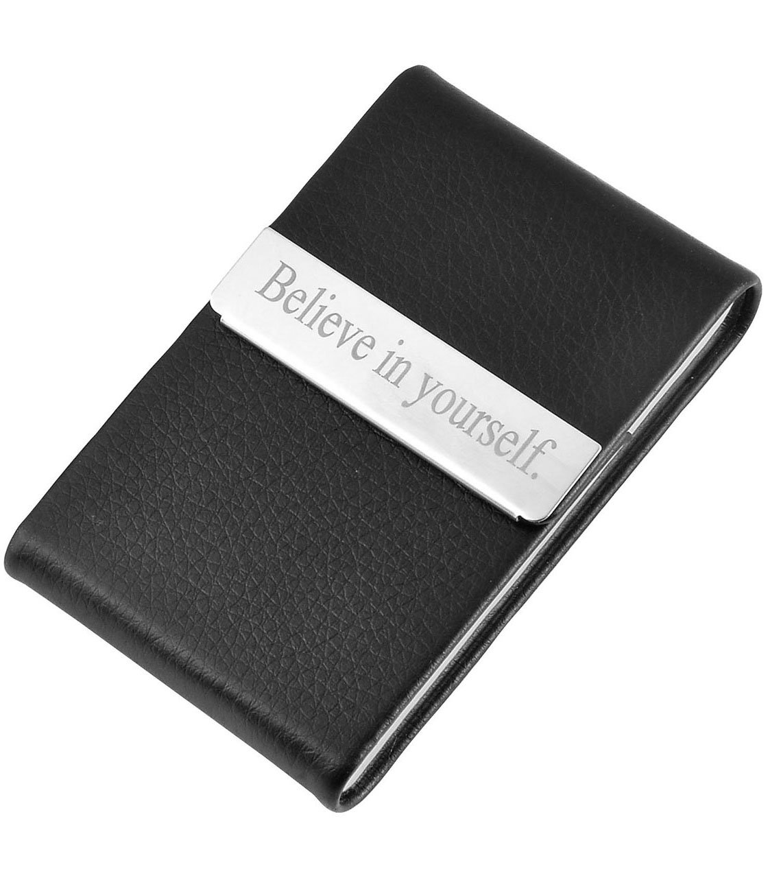 Ayliss Custom Engraved Business Card Holder Personalized Text Card Case,Black-customed