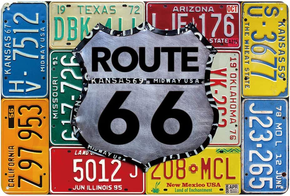 Route 66 car licence plate USA metal tin sign for Bar Cafe Garage Wall Decor Retro Vintage 7.87 X 11.8 inches great gift idea