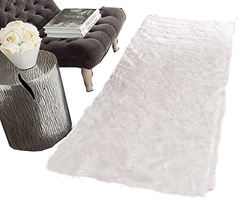 HUAHOO White Faux Sheepskin Area Rug Chair Cover Seat Pad Plain Shaggy Area Rugs for Bedroom Sofa Floor Ivory White 2 x 5 Bedside Rug