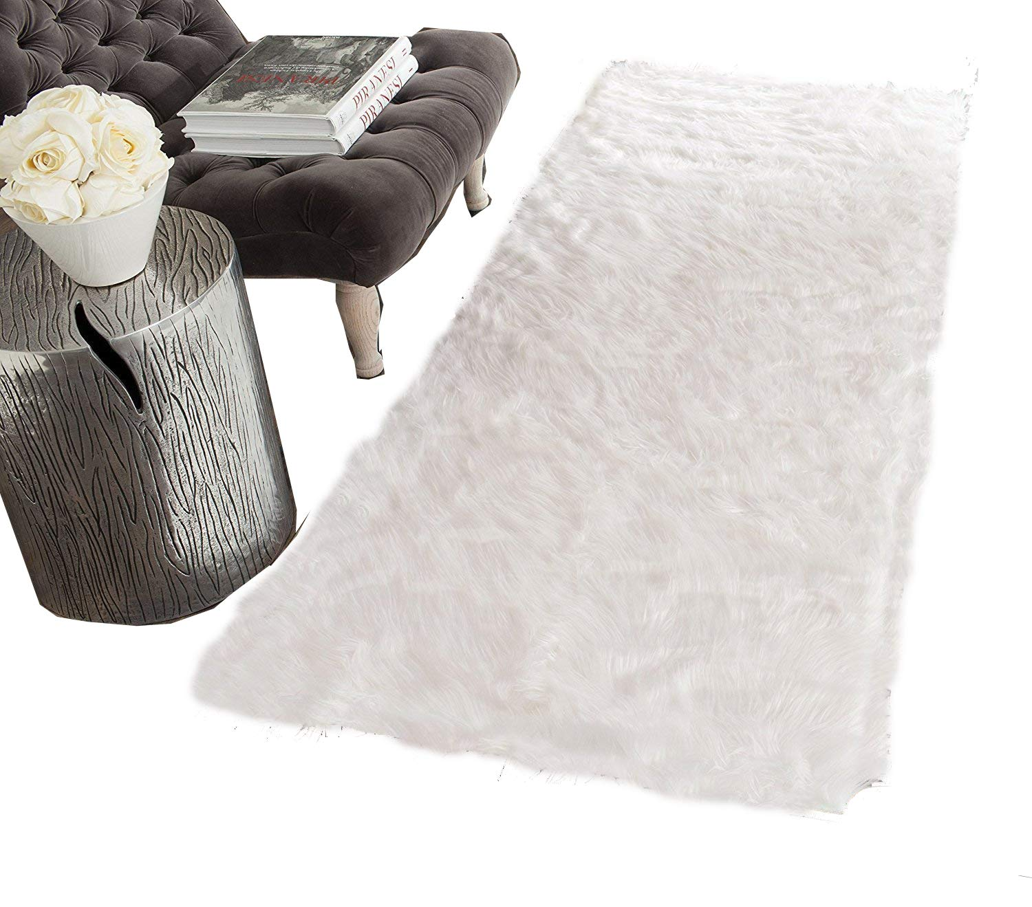 HUAHOO White Faux Sheepskin Area Rug Chair Cover Seat Pad Plain Shaggy Area Rugs For Bedroom Sofa Floor Ivory White (2' x 3' Sofa Mat)