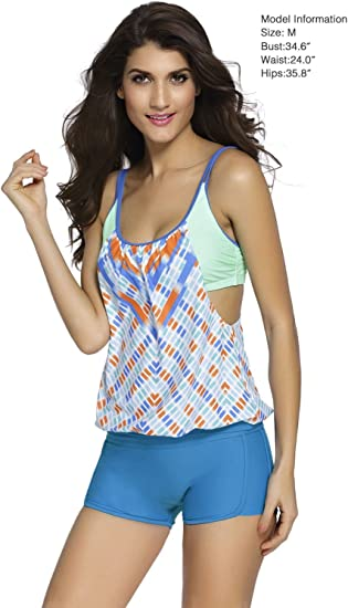 Women Stripes Print Sporty Double Up Layered