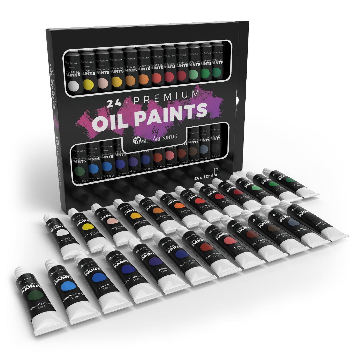 Castle Art Supplies Oil Paint Set Perfect for Professional and Beginners - Extend Your Painting Supplies to Include These 24 Richly Pigmented and Vivid Oil Colors Suitable for All Canvas
