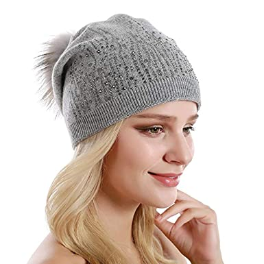 b58f4e9c5 GRAPPLE DEALS Women's Winter Beanie Hat Wool Knitted with Duck ...