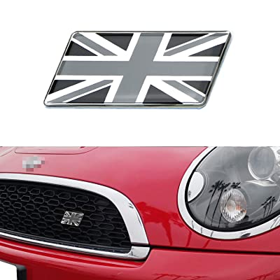 iJDMTOY Black/White Union Jack Flag Emblem Badge with L Shaped Mounting Bracket Fit Car Front Grille Compatible With Britain Vehicles such as MINI, Jaguar, Land Rover, etc: Automotive