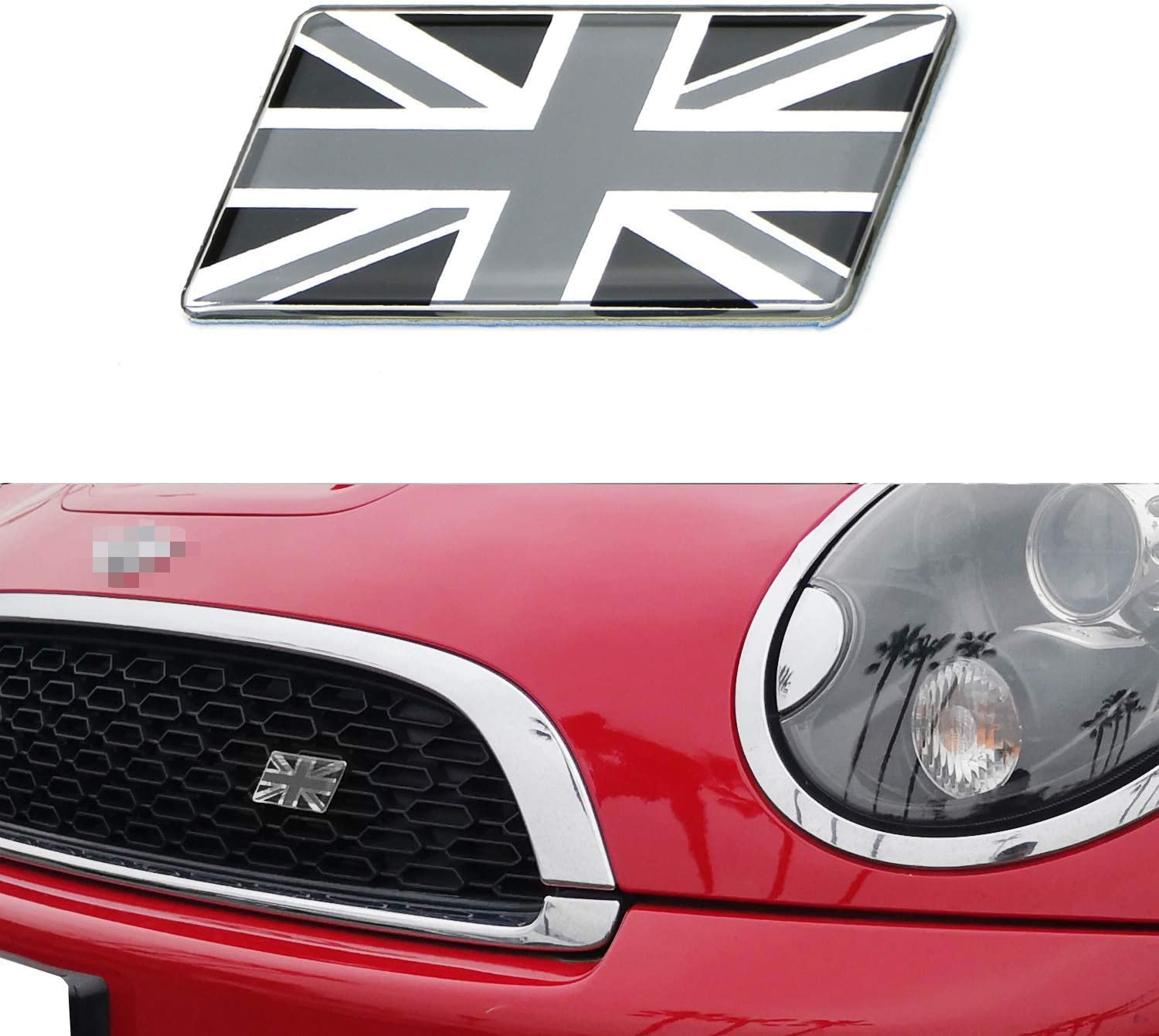 UNION JACK GB CAR BADGE FLAG WITH 3M S//A JAGUAR LAND ROVER TVR MG Red white blue