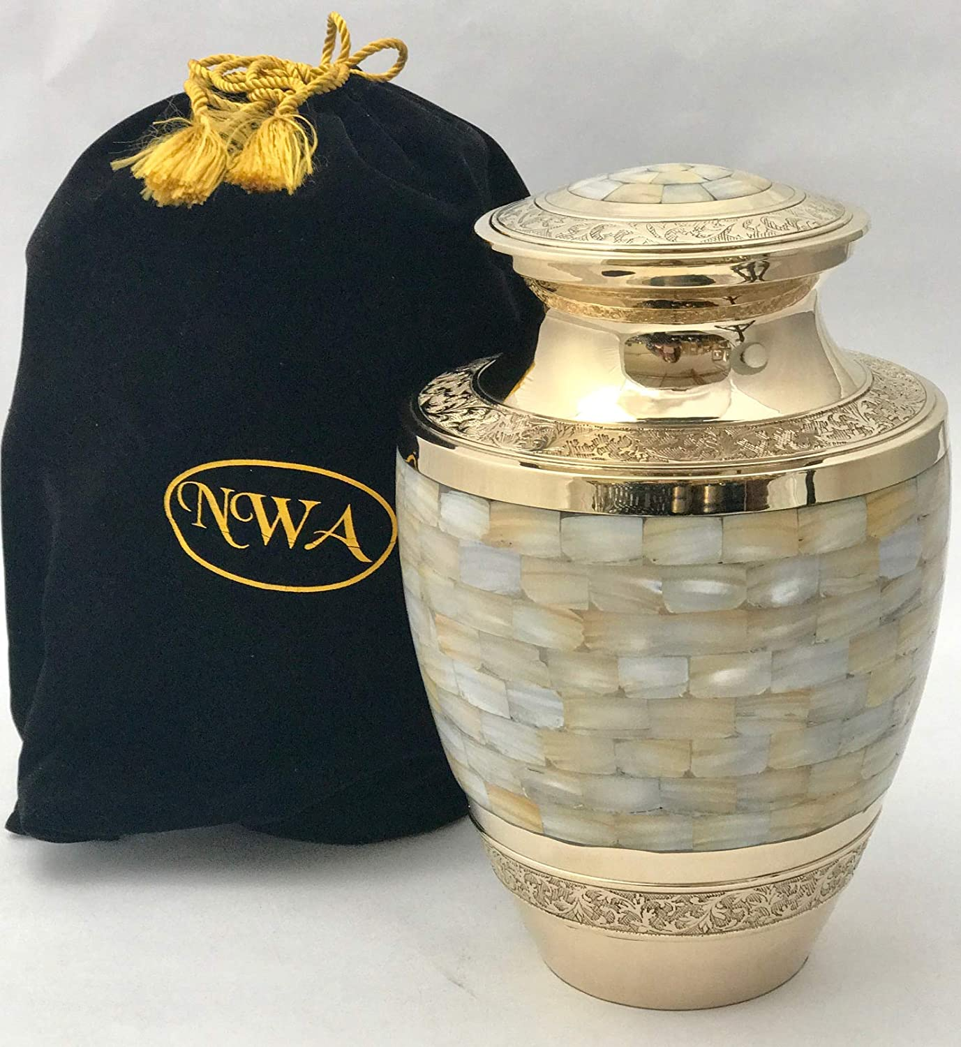 Urn for Ashes Brass Adult Cremation Memorial Funeral Large Ash Container
