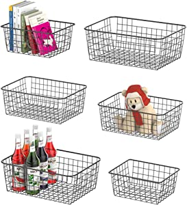 Wire Storage Basket, F-color 6 Pack Multi Size Metal Baskets for Storage Organizer for Pantry, Shelf, Freezer, Kitchen, Cabinet, Bathroom, Black