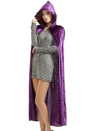 2ffddb242c03c ハロウィン 衣装 コスプレ パーティードレス 黒 吸血鬼 ケープ シャーマンフード付き マント パープル M