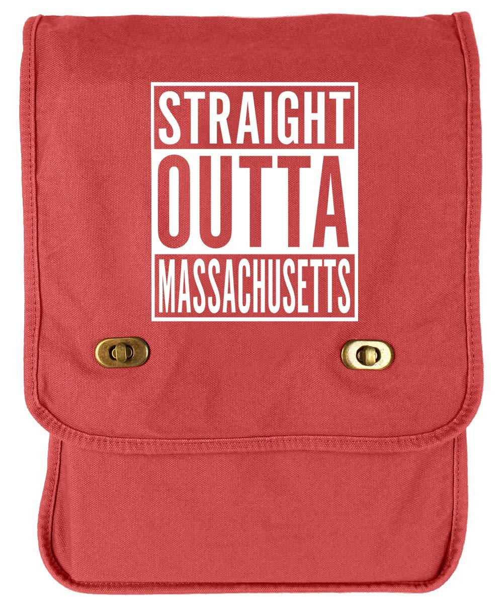 Tenacitee Straight Outta Massachusetts Khaki Green Raw Edge Canvas Messenger Bag