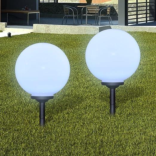luckyfu Farola solar a LED de jardín 30 cm con estaca 2pz ...