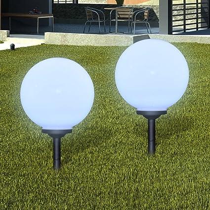 Furnituredeals lamparas de jardin Lampara solar LED para el jardin 30cm 2 uds con pica de