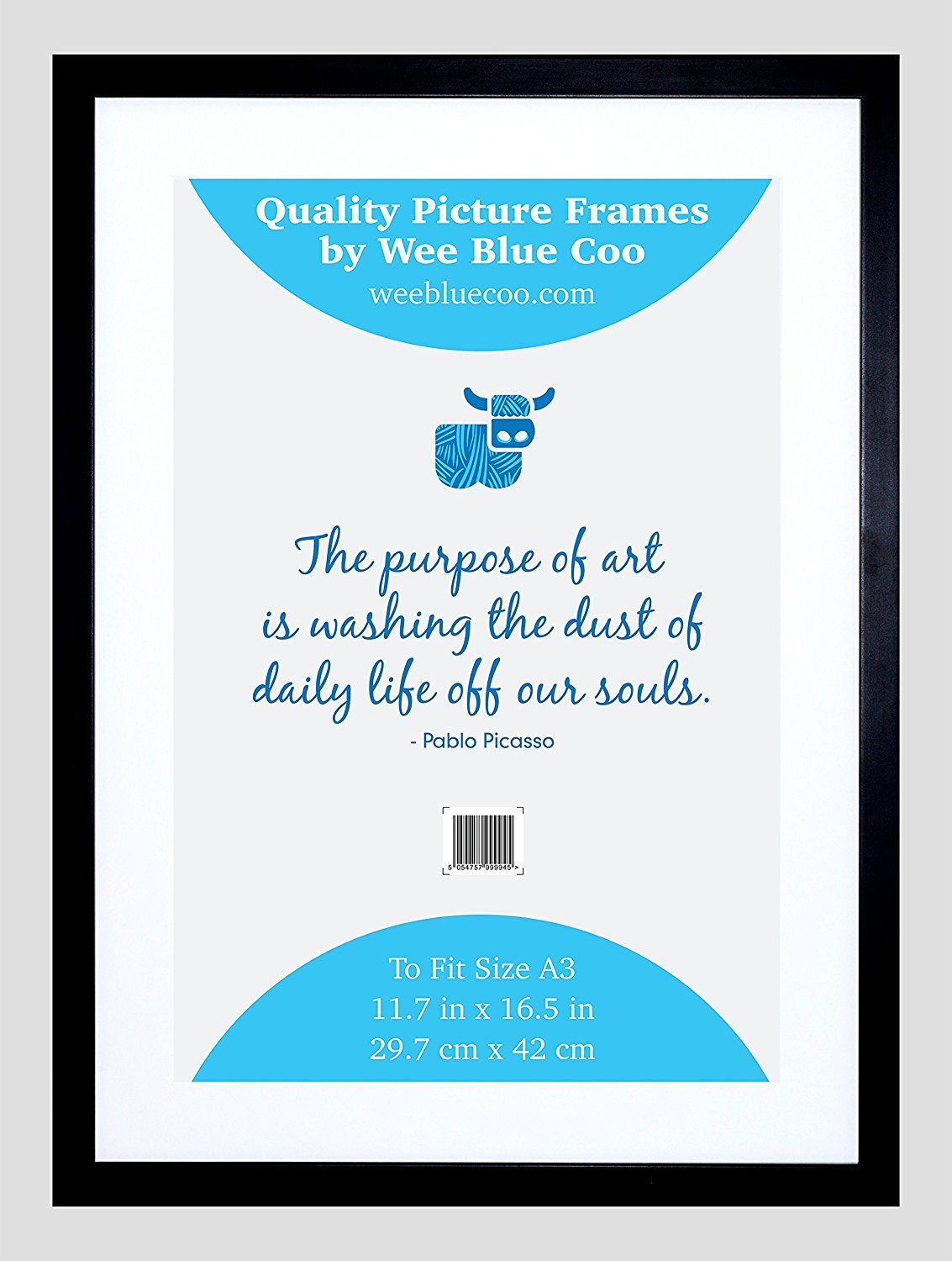 A3 Wooden Black Picture Frame 27.9 X 42 cms / 11.7 inch X 16.5 Inch Wall Wood Photo Frame Acrylic Safety 'Glass' By Wee Blue Coo FRA019