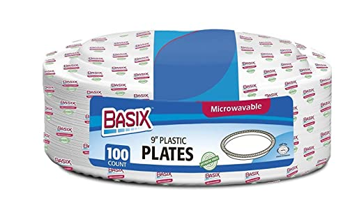 Basix desechables de platos de plástico/rígida, extra estable, microondas, color blanco, plástico, 9 Inch - 22cm.