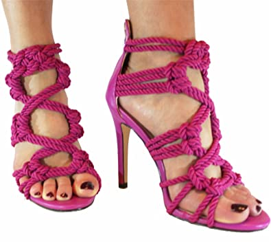 cd1bb6ae3111 Womens high stiletto heel open toe woven strappy sandal party  shoes Fuchsia 4