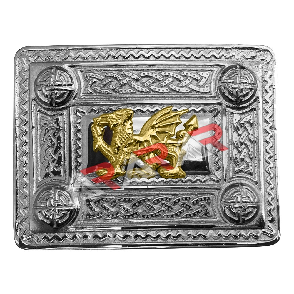 AAR Scottish Kilt Belt Buckle Celtic Design with Welsh Dragon Gold Badge