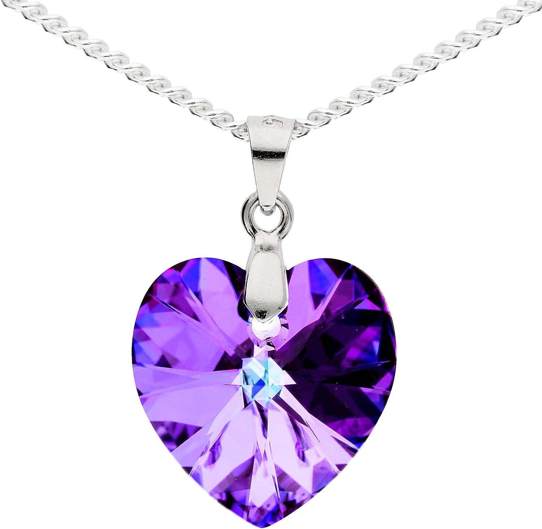 Mya tipo cadena collar de plata de ley 925con colgante de corazón Swarovski Elements cristal Piedra Lila 45cm mujer niños Corto Corazón Cadenas myasiket de 51