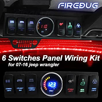 firebug jeep wrangler 6-switch panel, overhead 6-switch pod, 6 rocker