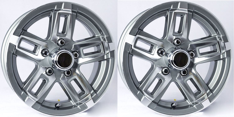 TWO (2) Aluminum Sendel Trailer Rims Wheels 5 Lug 15'' T06 Gunmetal Spoke Style