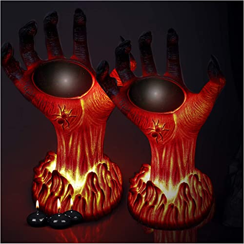 TONULAX Halloween Decoration Lights Outdoor, Solar Powered Burning Witch Hand Lights, Flickering Flame Lantern Lights, Super Realistic, Perfect Halloween Decor for Porch, Yard, Garden, Lawn 2 Pack
