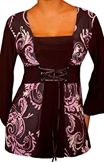 product image for Funfash Plus Size Women Corset Style Black Purple Long Sleeves Top Made in USA