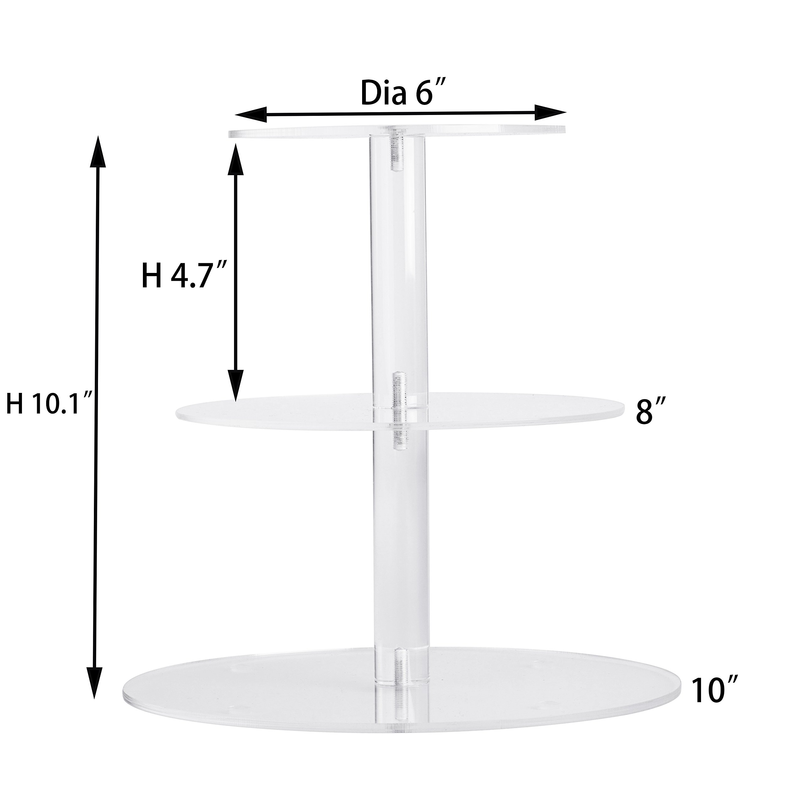YestBuy 3 Tiers Round Party Wedding Birthday Clear Tree Tower Acrylic Cake Stand (3 Tier Round(4.7'' between 2 layers))­ by YestBuy (Image #2)