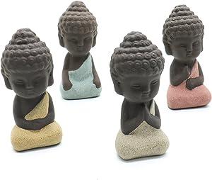SenseYo 4 Pieces Traditional Cute Small Buddha Statue India Yoga Mandala Sculptures Monk Figurine Monk Tea Pet Decoration on Kungfu Tray