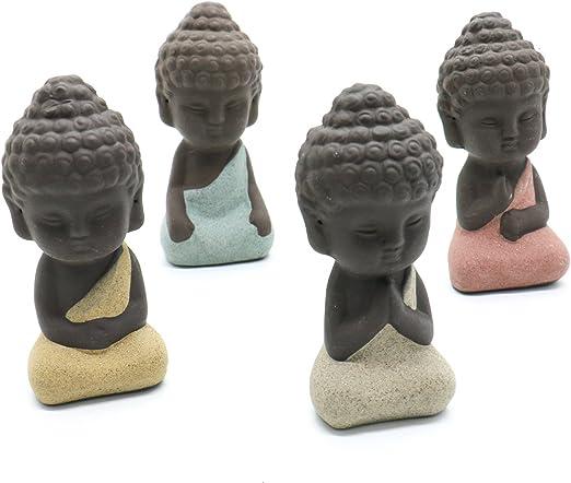 4pcs Handmade Ceramic Small Buddha Statue Monk Figurines Home Art Decoration