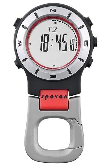 Spovan barómetro altímetro brújula Digital LED Clip Reloj de bolsillo: Amazon.es: Relojes