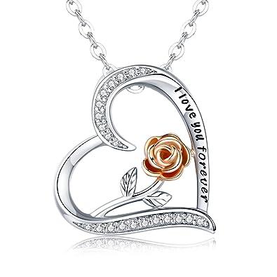 elegante Schuhe zum halben Preis Detaillierung CHENGHONG Rose Blume Anhänger Halskette Herz Kette Damen S925 Sterling  Silber Rose Romantische Halskette für Frauen Schmuck Geschenk 45.7cm+5cm