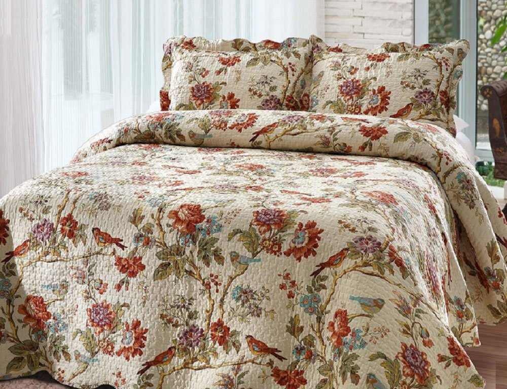 Patch Magic Finch Orchard 3-Piece Quilt Set King, Floral, Ochre - QKFIOR