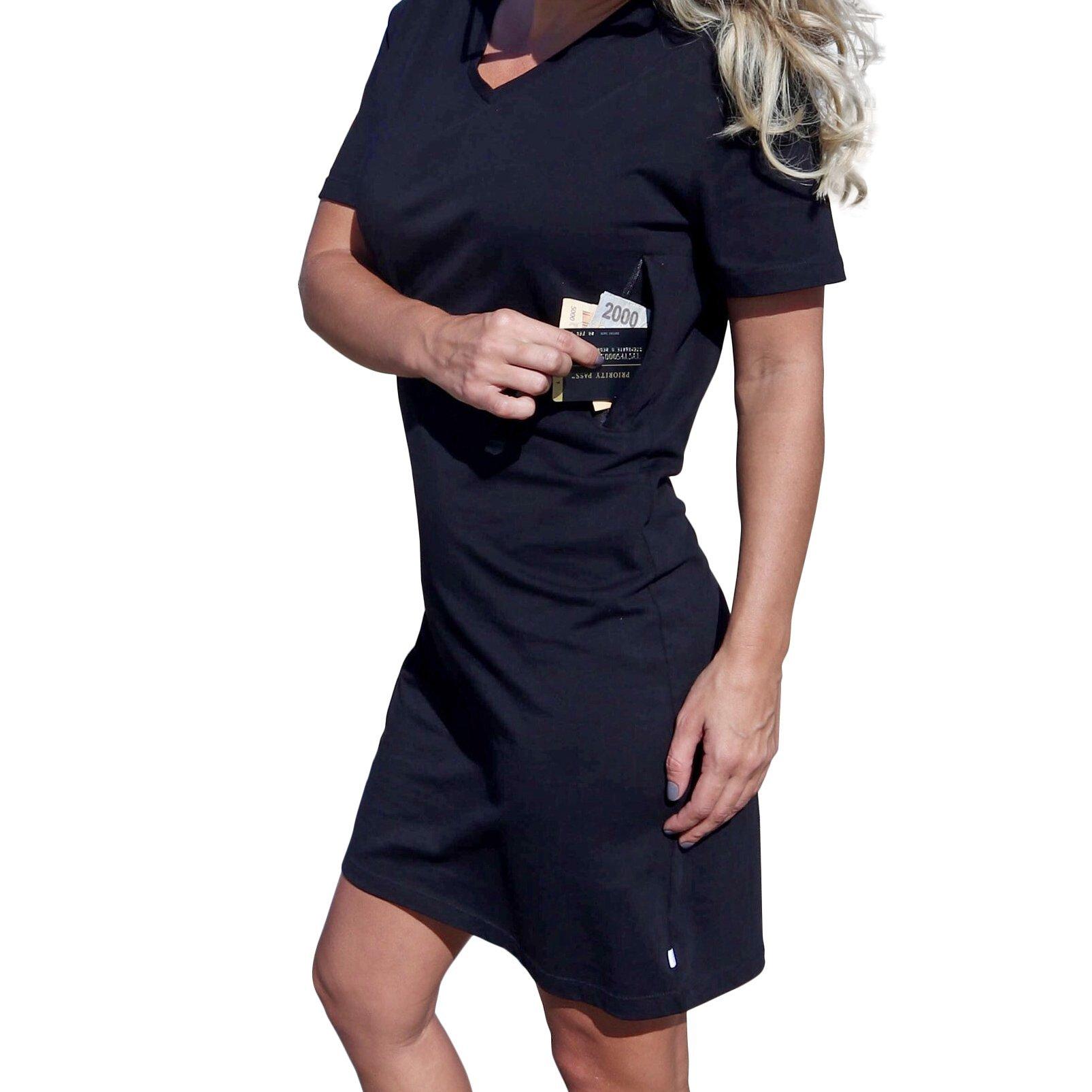 Clever Travel Companion Pickpocket Proof T-Shirt Dress With 2 Hidden Zipper Pockets (Medium, Black)